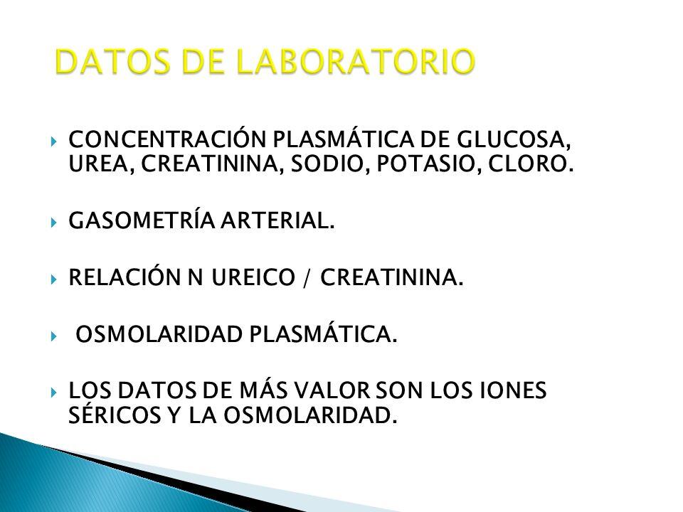 CONCENTRACIÓN PLASMÁTICA DE GLUCOSA, UREA, CREATININA, SODIO, POTASIO, CLORO. GASOMETRÍA ARTERIAL. RELACIÓN N UREICO / CREATININA. OSMOLARIDAD PLASMÁT