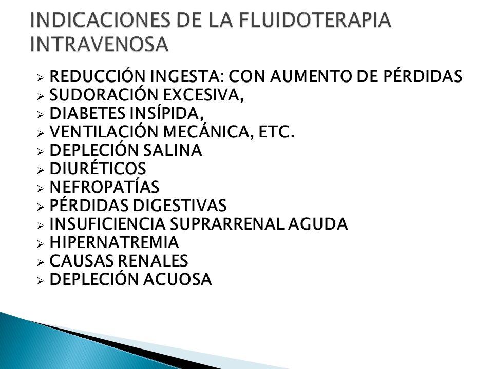 REDUCCIÓN INGESTA: CON AUMENTO DE PÉRDIDAS SUDORACIÓN EXCESIVA, DIABETES INSÍPIDA, VENTILACIÓN MECÁNICA, ETC. DEPLECIÓN SALINA DIURÉTICOS NEFROPATÍAS