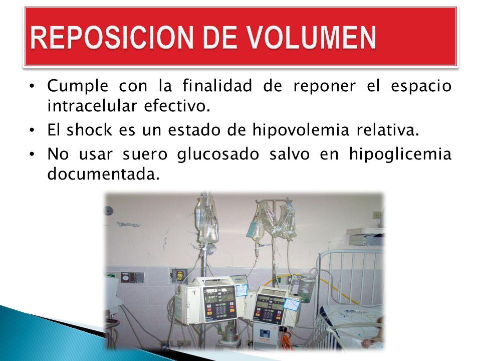 Cumple con la finalidad de reponer el espacio intracelular efectivo. El shock es un estado de hipovolemia relativa. No usar suero glucosado salvo en h