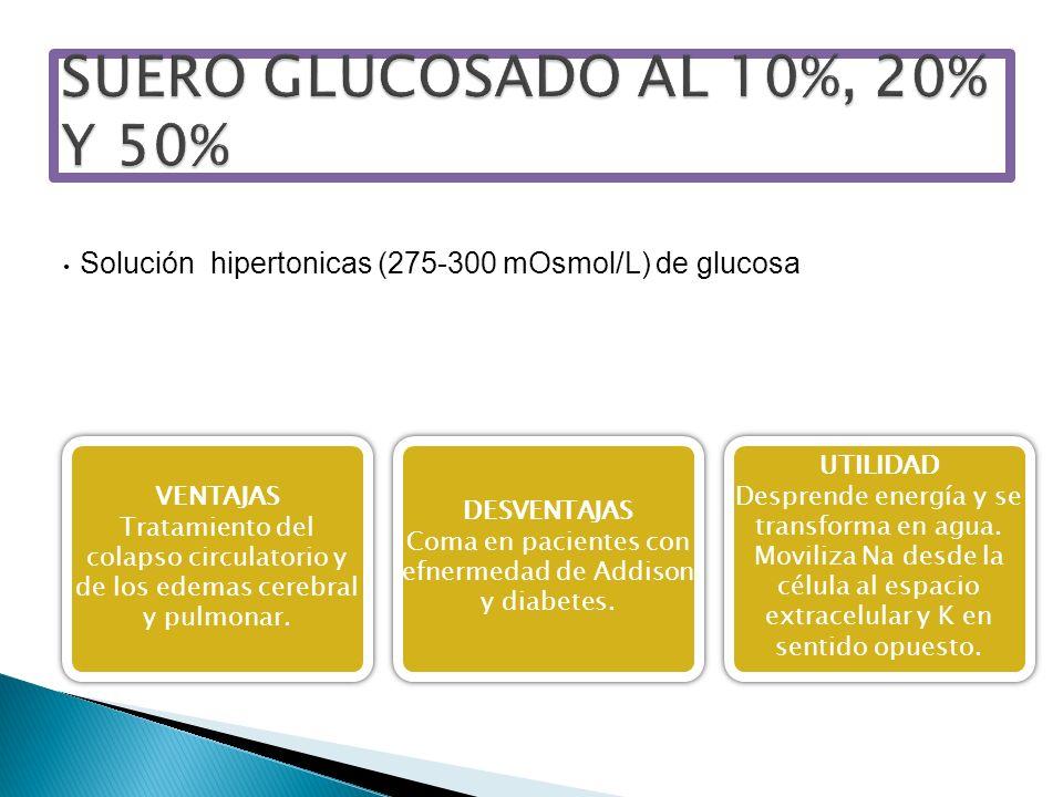 Solución hipertonicas (275-300 mOsmol/L) de glucosa VENTAJAS Tratamiento del colapso circulatorio y de los edemas cerebral y pulmonar. VENTAJAS Tratam