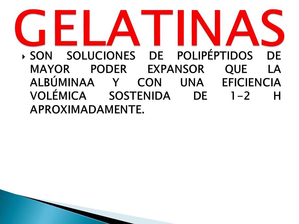 SON SOLUCIONES DE POLIPÉPTIDOS DE MAYOR PODER EXPANSOR QUE LA ALBÚMINAA Y CON UNA EFICIENCIA VOLÉMICA SOSTENIDA DE 1-2 H APROXIMADAMENTE.