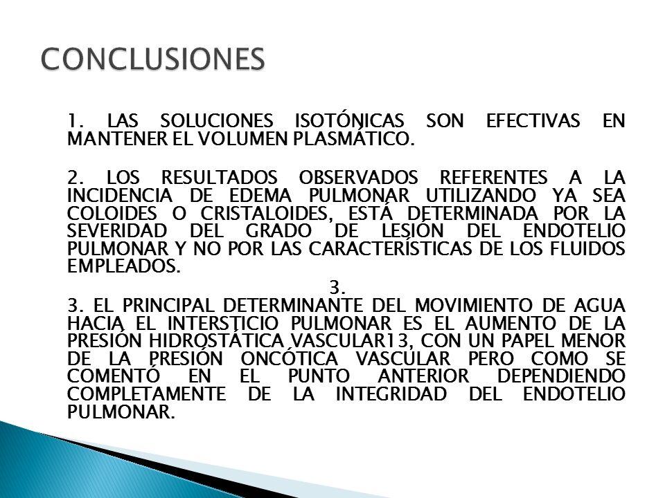 1. LAS SOLUCIONES ISOTÓNICAS SON EFECTIVAS EN MANTENER EL VOLUMEN PLASMÁTICO. 2. LOS RESULTADOS OBSERVADOS REFERENTES A LA INCIDENCIA DE EDEMA PULMONA