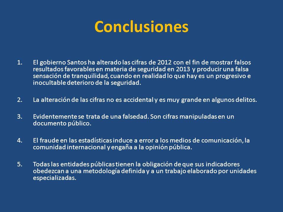 Conclusiones 1.El gobierno Santos ha alterado las cifras de 2012 con el fin de mostrar falsos resultados favorables en materia de seguridad en 2013 y producir una falsa sensación de tranquilidad, cuando en realidad lo que hay es un progresivo e inocultable deterioro de la seguridad.