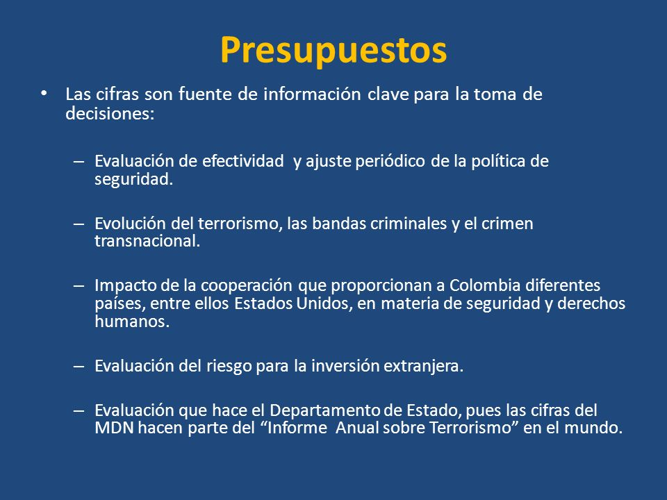 Antecedentes Durante el gobierno Santos mensualmente se publicaban en www.mindefensa.gov.co las estadísticas que recogen los datos sobre delitos que afectan la seguridad ciudadana y los relacionados con las FARC, el ELN y las Bacrim.