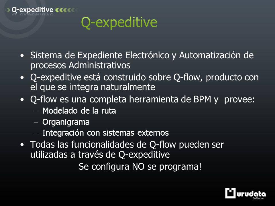 Sistema de Expediente Electrónico y Automatización de procesos Administrativos Q-expeditive está construido sobre Q-flow, producto con el que se integra naturalmente Q-flow es una completa herramienta de BPM y provee: –Modelado de la ruta –Organigrama –Integración con sistemas externos Todas las funcionalidades de Q-flow pueden ser utilizadas a través de Q-expeditive Se configura NO se programa!