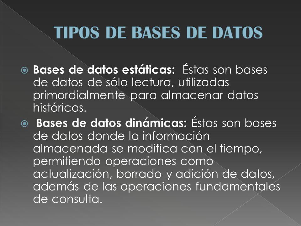 Bases de datos estáticas: Éstas son bases de datos de sólo lectura, utilizadas primordialmente para almacenar datos históricos.