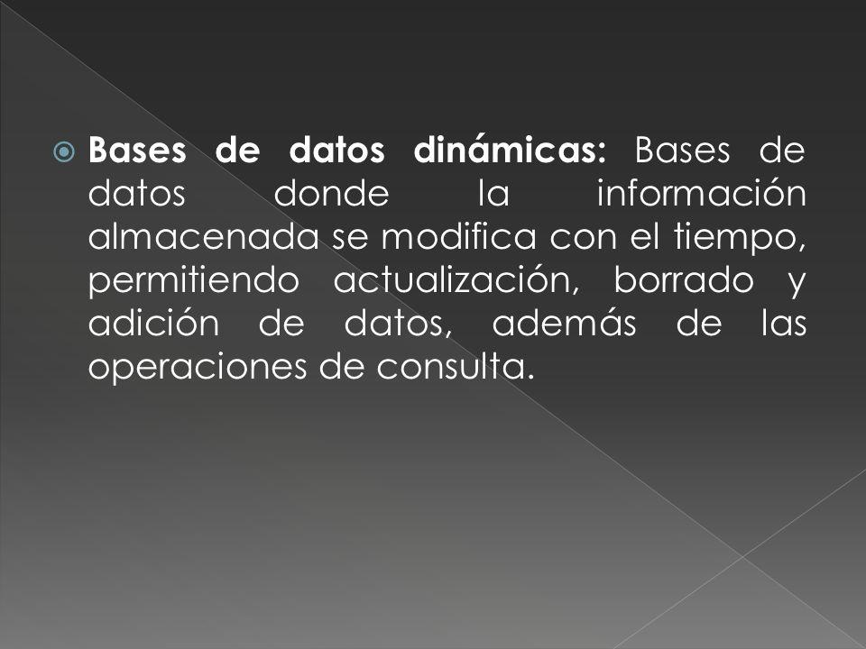 Bases de datos dinámicas: Bases de datos donde la información almacenada se modifica con el tiempo, permitiendo actualización, borrado y adición de datos, además de las operaciones de consulta.