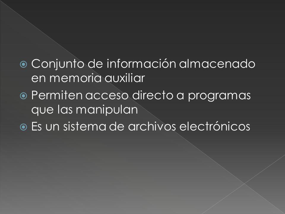 Conjunto de información almacenado en memoria auxiliar Permiten acceso directo a programas que las manipulan Es un sistema de archivos electrónicos