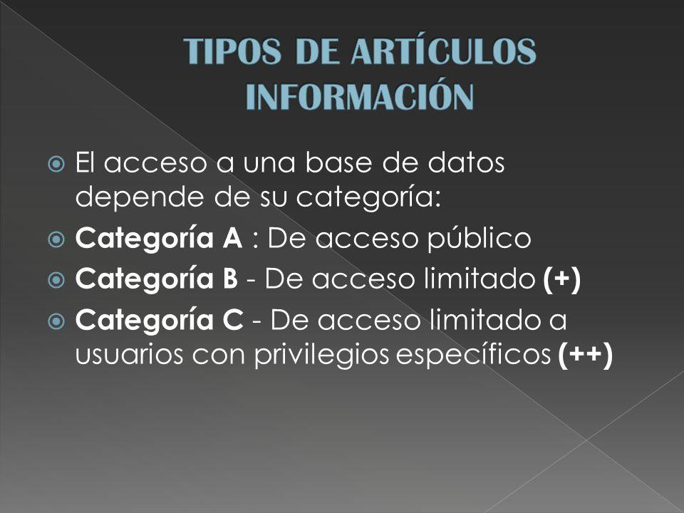 El acceso a una base de datos depende de su categoría: Categoría A : De acceso público Categoría B - De acceso limitado (+) Categoría C - De acceso limitado a usuarios con privilegios específicos (++)