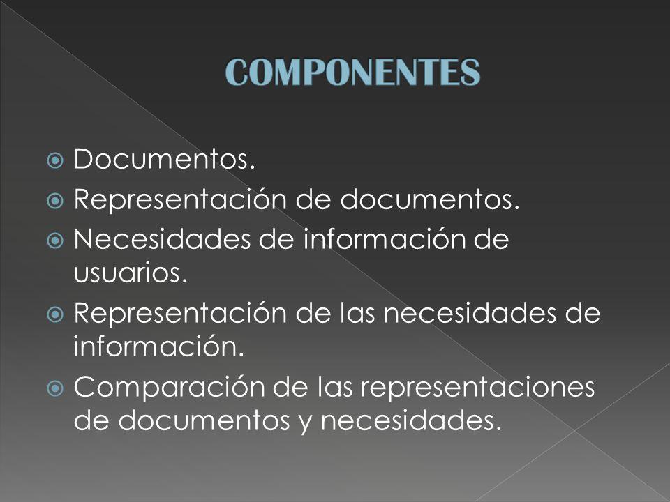 Documentos. Representación de documentos. Necesidades de información de usuarios.