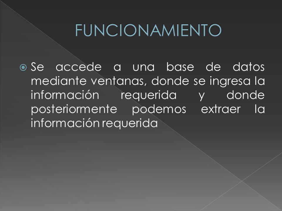 Se accede a una base de datos mediante ventanas, donde se ingresa la información requerida y donde posteriormente podemos extraer la información requerida