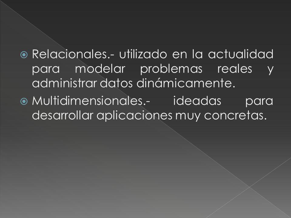 Relacionales.- utilizado en la actualidad para modelar problemas reales y administrar datos dinámicamente.