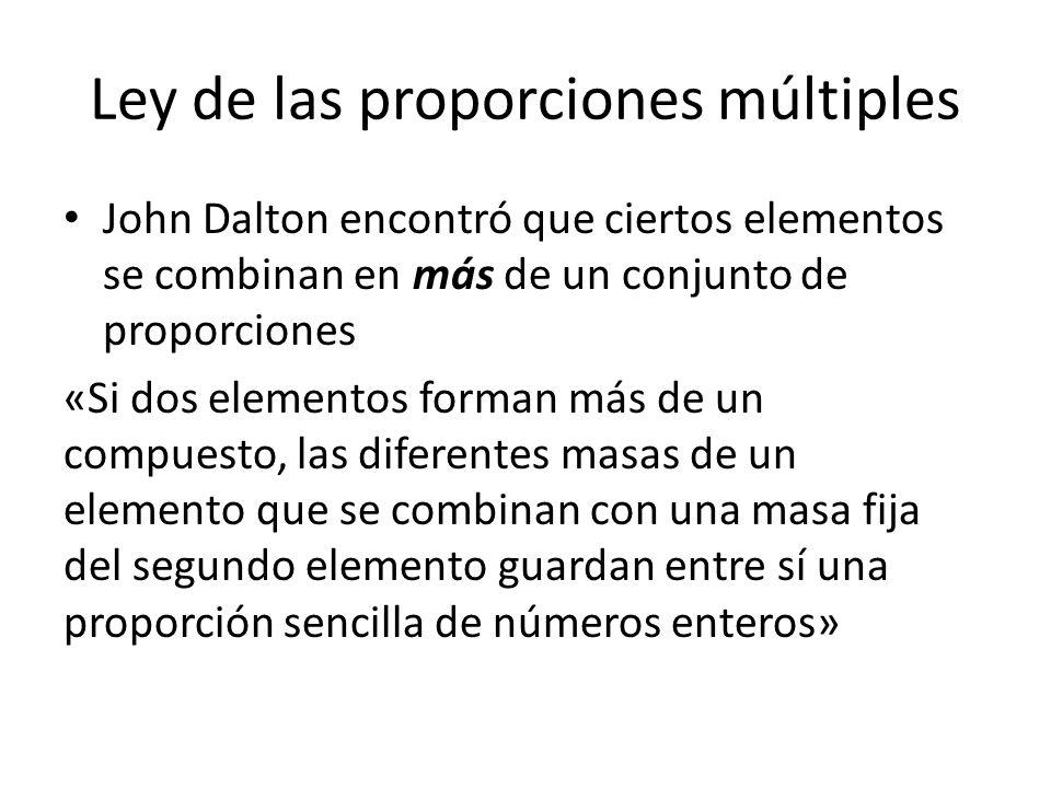 Ley de las proporciones múltiples John Dalton encontró que ciertos elementos se combinan en más de un conjunto de proporciones «Si dos elementos forma