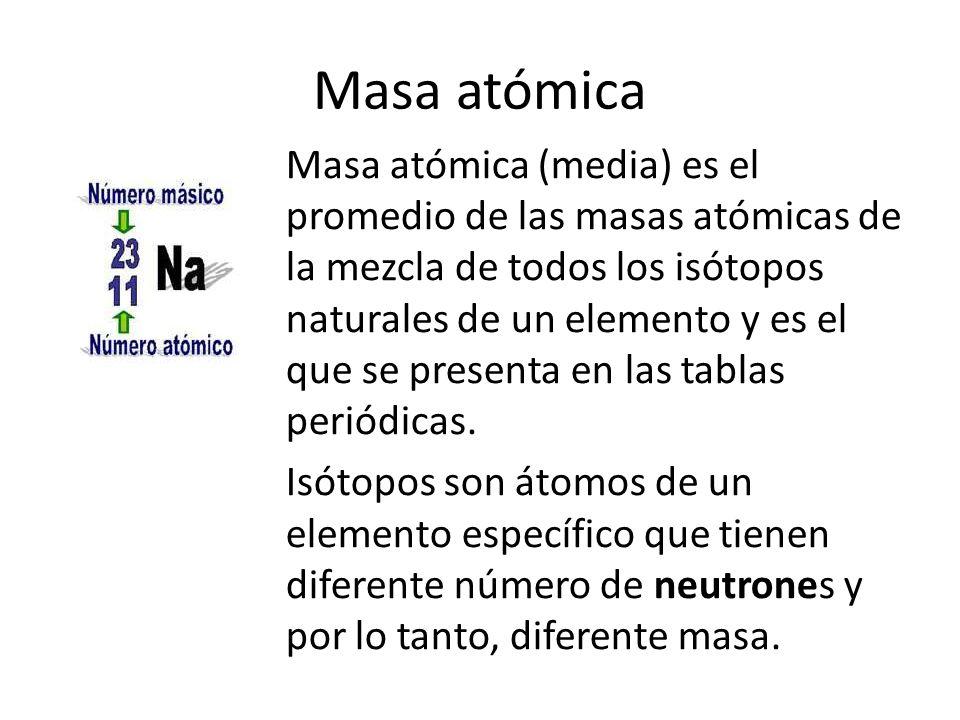Masa atómica Masa atómica (media) es el promedio de las masas atómicas de la mezcla de todos los isótopos naturales de un elemento y es el que se pres