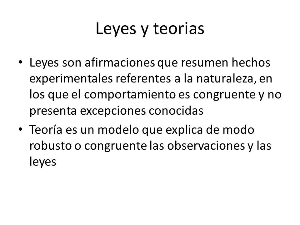Leyes y teorias Leyes son afirmaciones que resumen hechos experimentales referentes a la naturaleza, en los que el comportamiento es congruente y no p