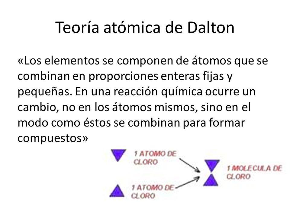 Teoría atómica de Dalton «Los elementos se componen de átomos que se combinan en proporciones enteras fijas y pequeñas. En una reacción química ocurre