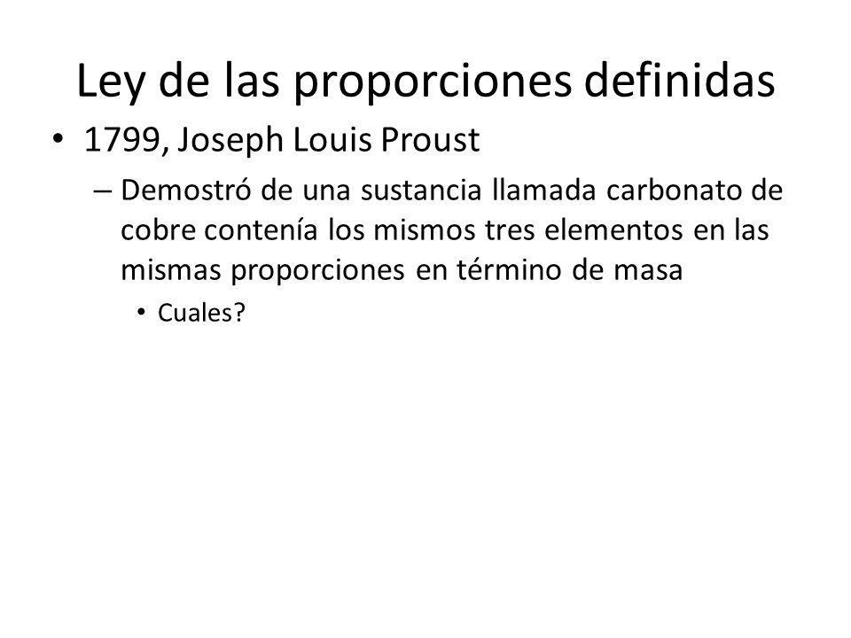 Ley de las proporciones definidas 1799, Joseph Louis Proust – Demostró de una sustancia llamada carbonato de cobre contenía los mismos tres elementos