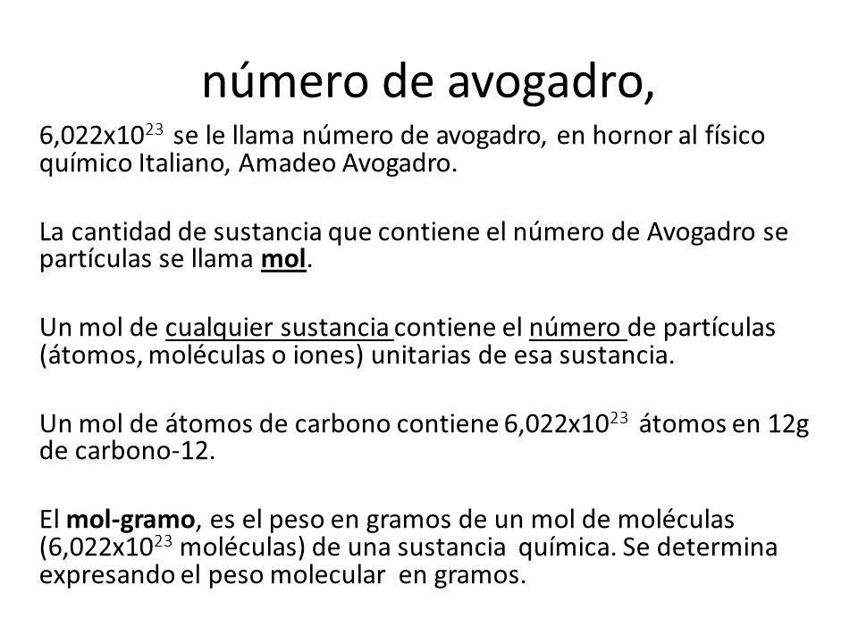 número de avogadro, 6,022x10 23 se le llama número de avogadro, en hornor al físico químico Italiano, Amadeo Avogadro.