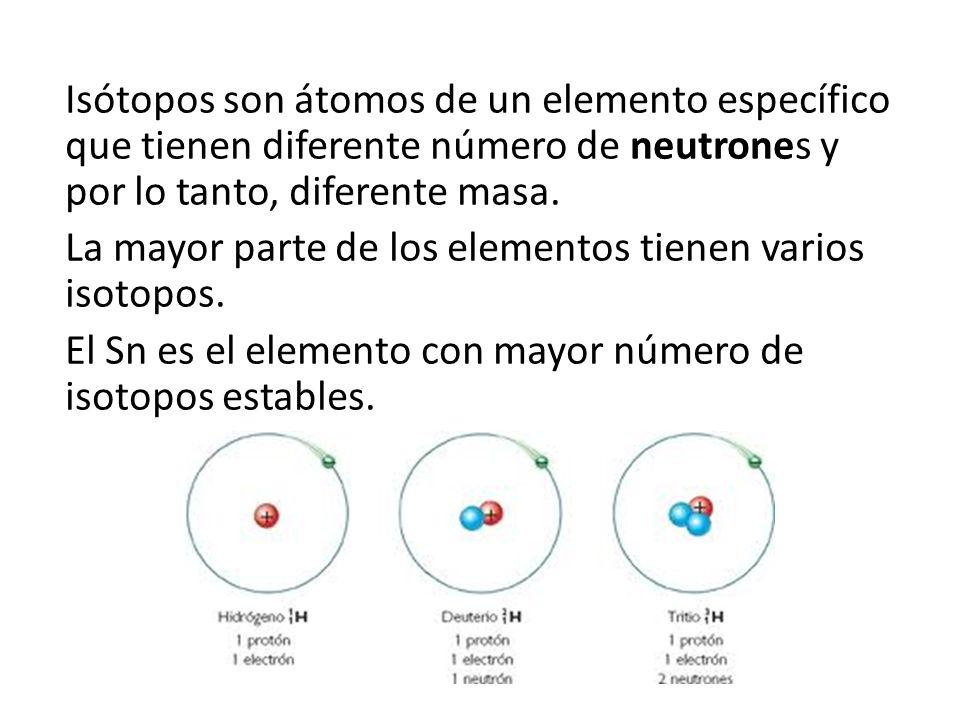 Isótopos son átomos de un elemento específico que tienen diferente número de neutrones y por lo tanto, diferente masa.