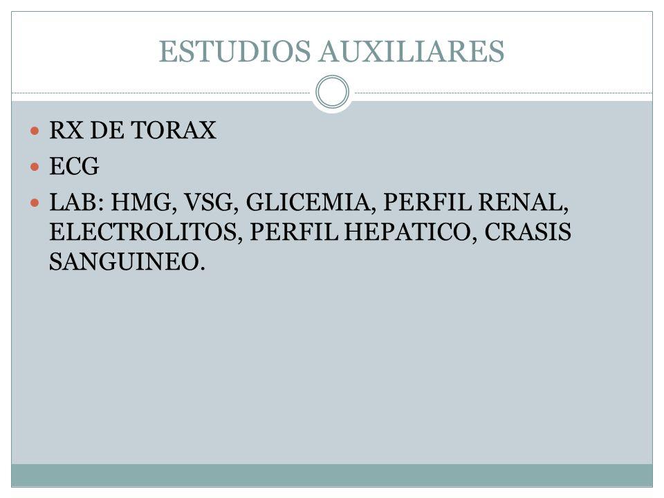 ESTUDIOS AUXILIARES RX DE TORAX ECG LAB: HMG, VSG, GLICEMIA, PERFIL RENAL, ELECTROLITOS, PERFIL HEPATICO, CRASIS SANGUINEO.