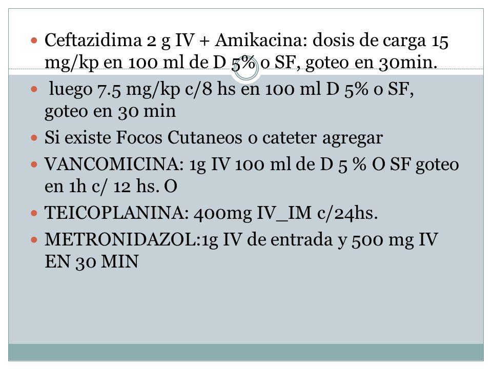 Ceftazidima 2 g IV + Amikacina: dosis de carga 15 mg/kp en 100 ml de D 5% o SF, goteo en 30min. luego 7.5 mg/kp c/8 hs en 100 ml D 5% o SF, goteo en 3