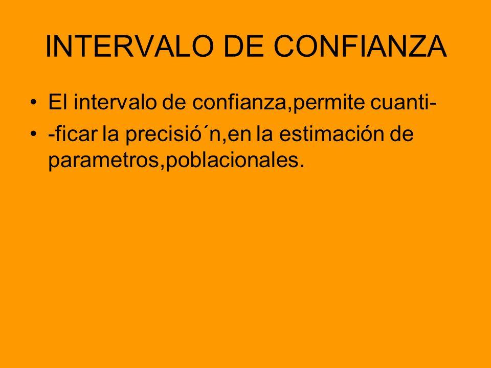 INTERVALO DE CONFIANZA El intervalo de confianza,permite cuanti- -ficar la precisió´n,en la estimación de parametros,poblacionales.