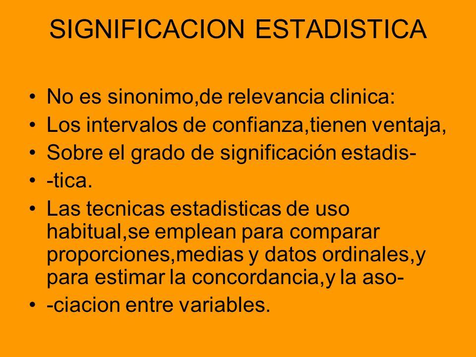 SIGNIFICACION ESTADISTICA No es sinonimo,de relevancia clinica: Los intervalos de confianza,tienen ventaja, Sobre el grado de significación estadis- -