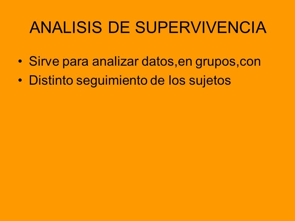 ANALISIS DE SUPERVIVENCIA Sirve para analizar datos,en grupos,con Distinto seguimiento de los sujetos
