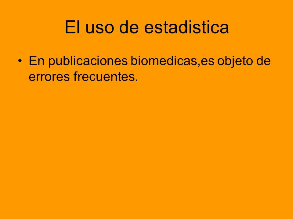El uso de estadistica En publicaciones biomedicas,es objeto de errores frecuentes.