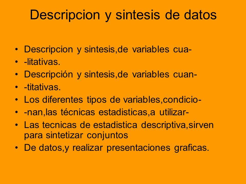 Descripcion y sintesis de datos Descripcion y sintesis,de variables cua- -litativas. Descripción y sintesis,de variables cuan- -titativas. Los diferen