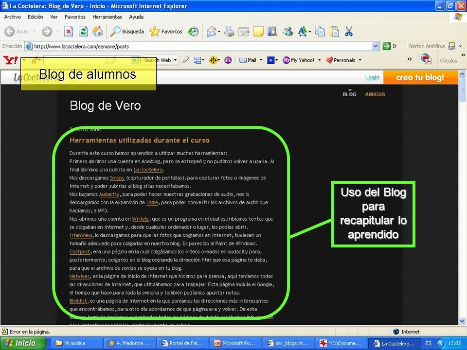 Uso del Blog para recapitular lo aprendido Blog de alumnos