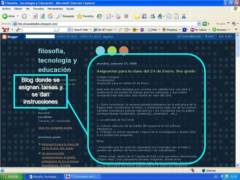 Blog donde se asignan tareas y se dan instrucciones