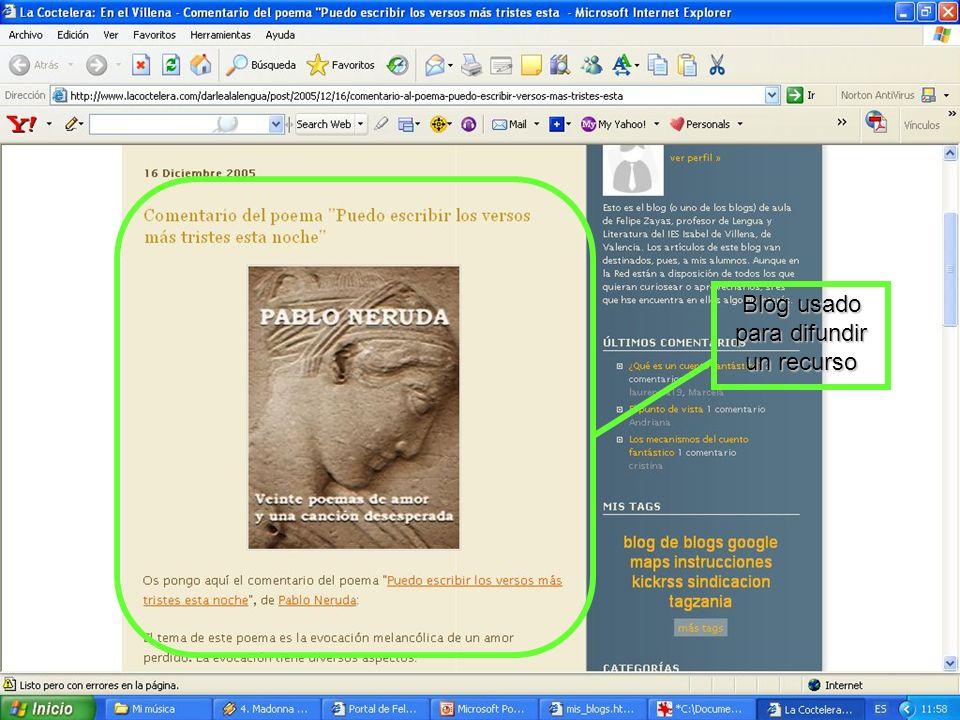 Blog usado para difundir un recurso