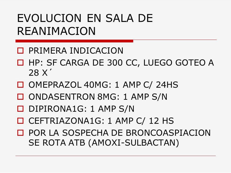 EVOLUCION EN SALA DE REANIMACION PRIMERA INDICACION HP: SF CARGA DE 300 CC, LUEGO GOTEO A 28 X´ OMEPRAZOL 40MG: 1 AMP C/ 24HS ONDASENTRON 8MG: 1 AMP S