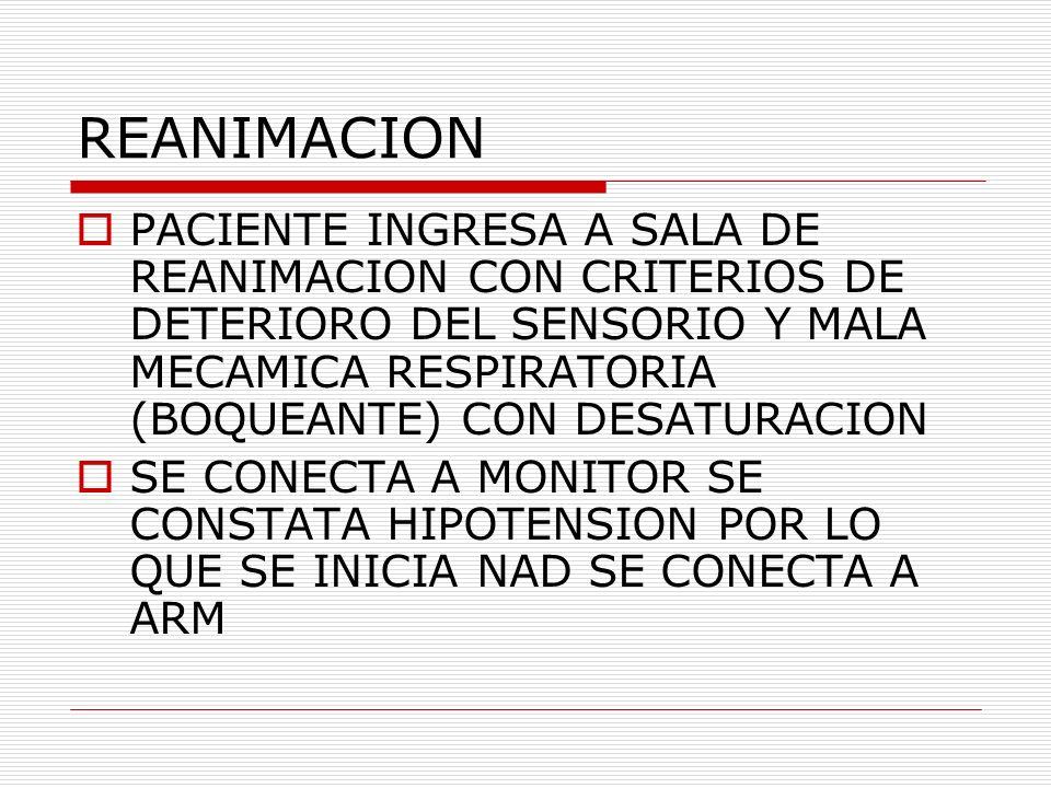 REANIMACION PACIENTE INGRESA A SALA DE REANIMACION CON CRITERIOS DE DETERIORO DEL SENSORIO Y MALA MECAMICA RESPIRATORIA (BOQUEANTE) CON DESATURACION S