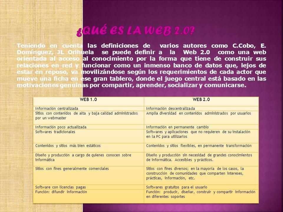 Teniendo en cuenta las definiciones de varios autores como C.Cobo, E. Domínguez, JL Orihuela se puede definir a la Web 2.0 como una web orientada al a