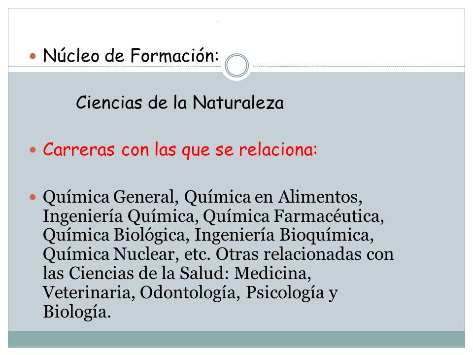 . Núcleo de Formación: Ciencias de la Naturaleza Carreras con las que se relaciona: Química General, Química en Alimentos, Ingeniería Química, Química