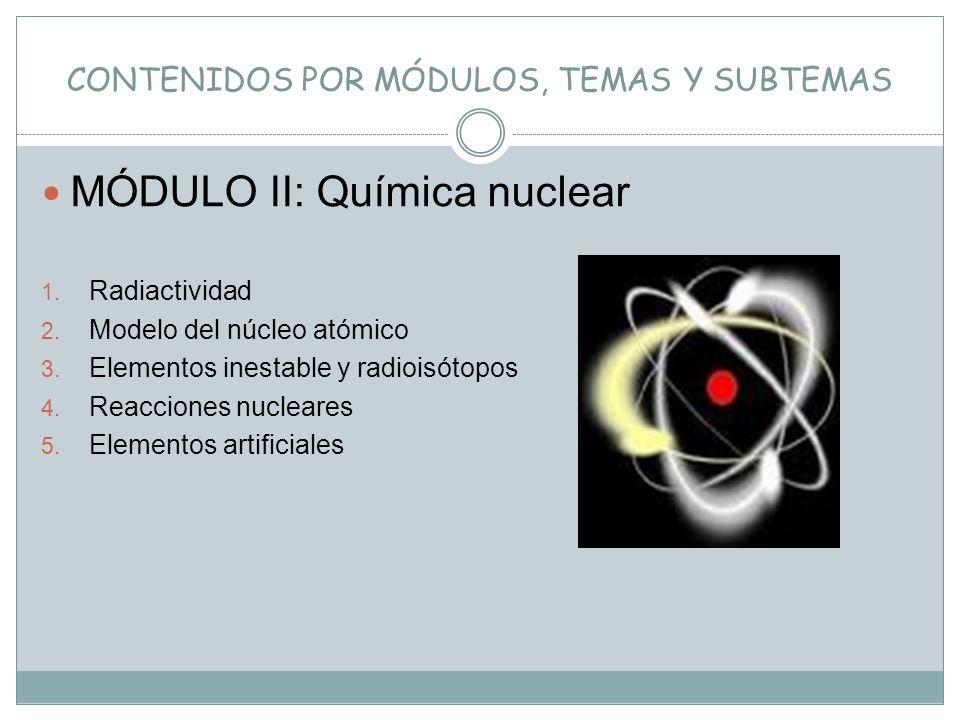 CONTENIDOS POR MÓDULOS, TEMAS Y SUBTEMAS MÓDULO II: Química nuclear 1. Radiactividad 2. Modelo del núcleo atómico 3. Elementos inestable y radioisótop