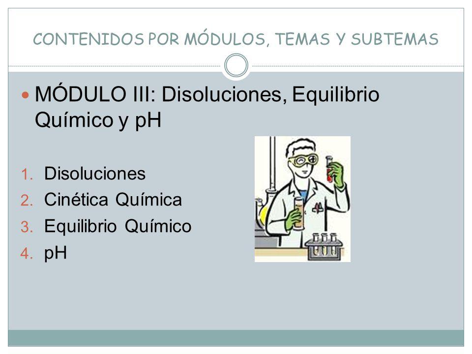 CONTENIDOS POR MÓDULOS, TEMAS Y SUBTEMAS MÓDULO III: Disoluciones, Equilibrio Químico y pH 1. Disoluciones 2. Cinética Química 3. Equilibrio Químico 4
