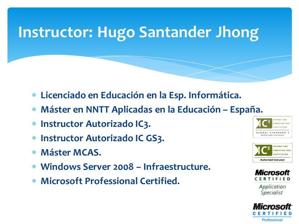 Licenciado en Educación en la Esp. Informática. Máster en NNTT Aplicadas en la Educación – España. Instructor Autorizado IC3. Instructor Autorizado IC