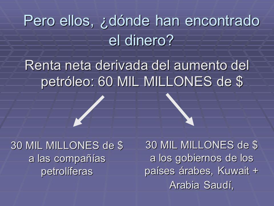 Renta neta derivada del aumento del petróleo: 60 MIL MILLONES de $ 30 MIL MILLONES de $ a las compañías petrolíferas 30 MIL MILLONES de $ a los gobiernos de los países árabes, Kuwait + Arabia Saudí, Pero ellos, ¿dónde han encontrado el dinero