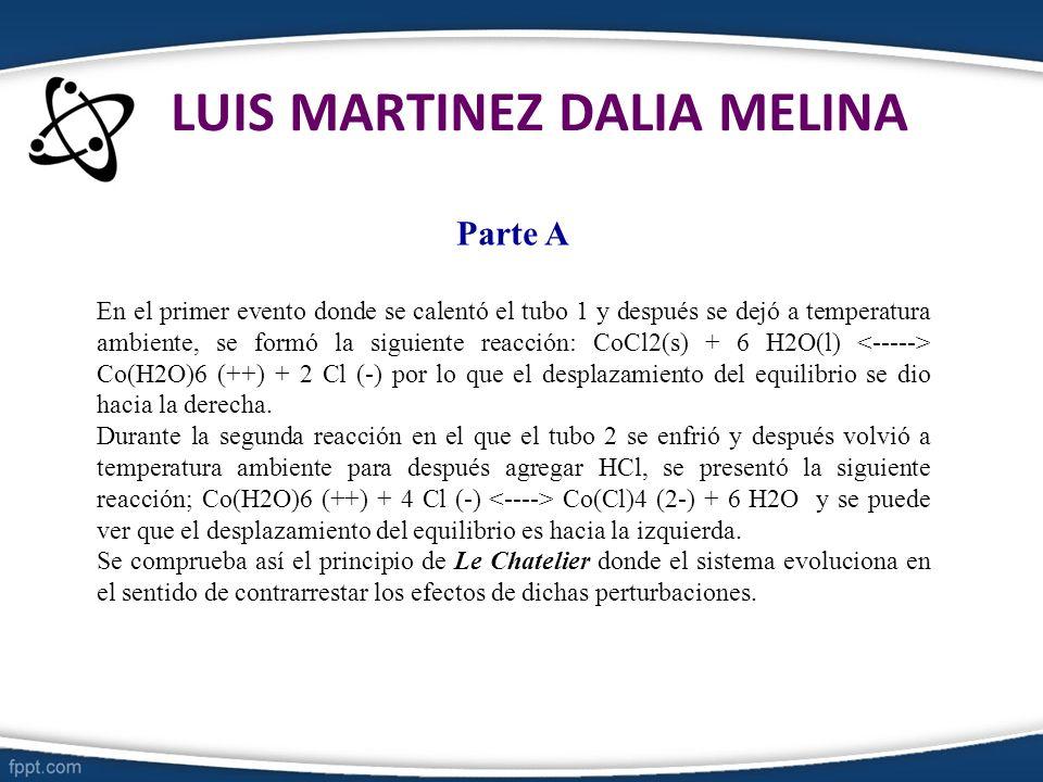 LUIS MARTINEZ DALIA MELINA Parte A En el primer evento donde se calentó el tubo 1 y después se dejó a temperatura ambiente, se formó la siguiente reac