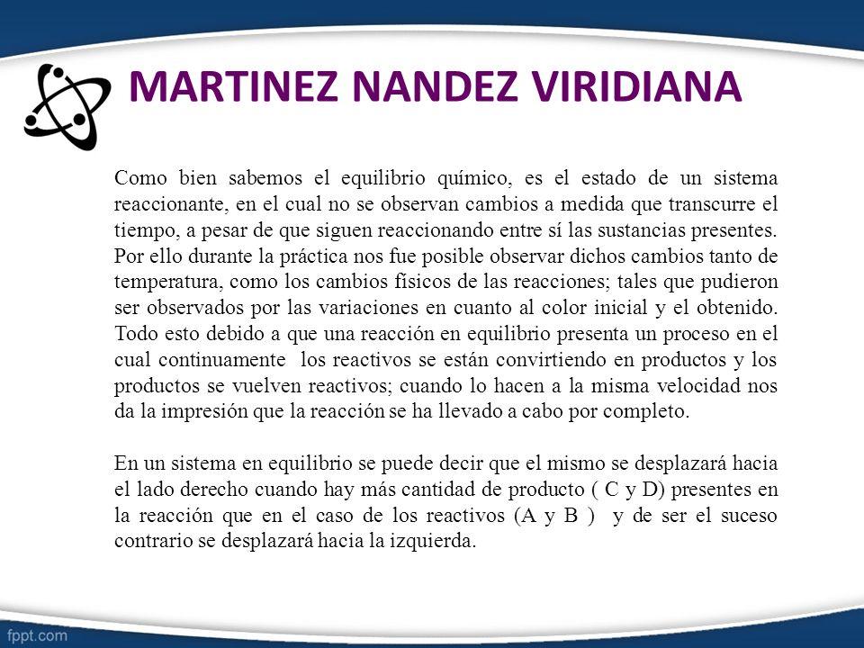 MARTINEZ NANDEZ VIRIDIANA Como bien sabemos el equilibrio químico, es el estado de un sistema reaccionante, en el cual no se observan cambios a medida