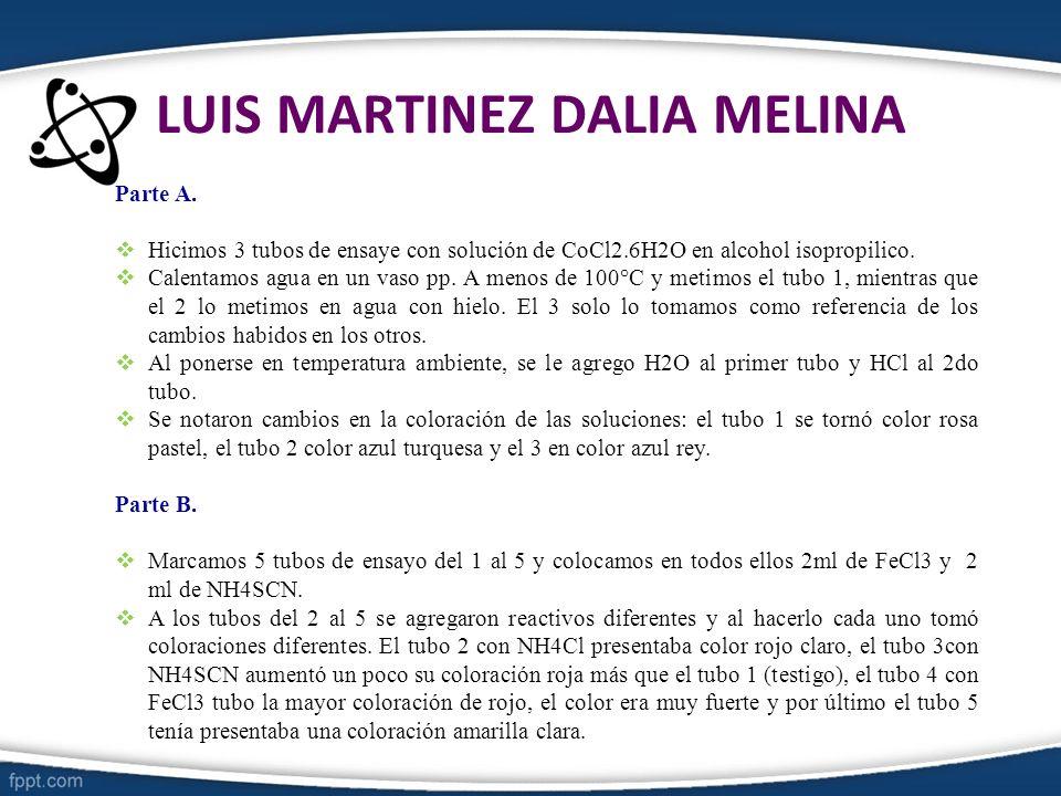 LUIS MARTINEZ DALIA MELINA Parte A. Hicimos 3 tubos de ensaye con solución de CoCl2.6H2O en alcohol isopropilico. Calentamos agua en un vaso pp. A men