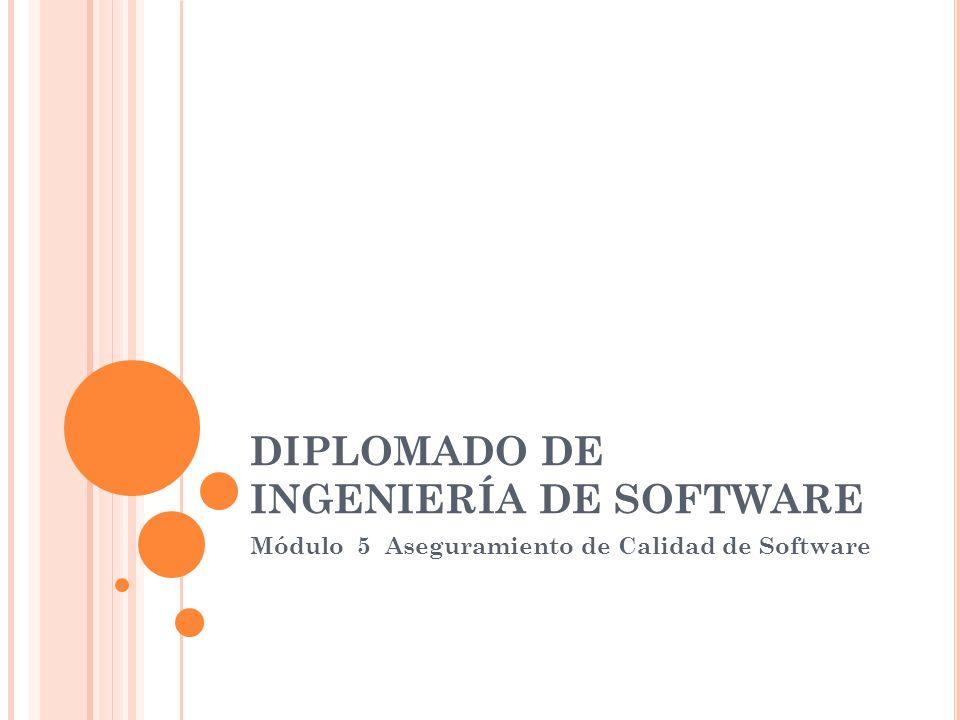 DIPLOMADO DE INGENIERÍA DE SOFTWARE Módulo 5 Aseguramiento de Calidad de Software