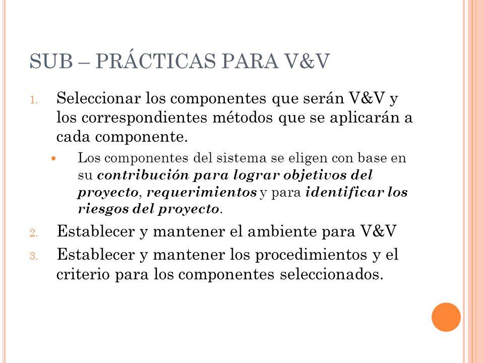 SUB – PRÁCTICAS PARA V&V 1. Seleccionar los componentes que serán V&V y los correspondientes métodos que se aplicarán a cada componente. Los component
