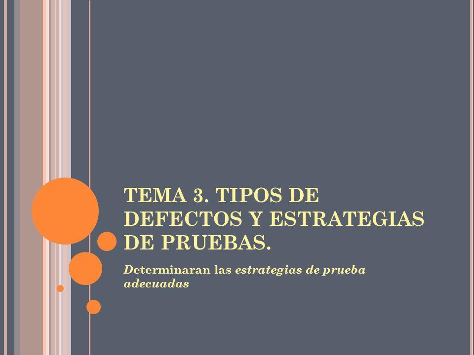 TEMA 3. TIPOS DE DEFECTOS Y ESTRATEGIAS DE PRUEBAS. D eterminaran las estrategias de prueba adecuadas