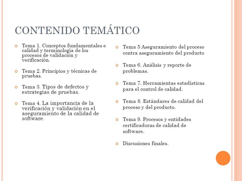 CONTENIDO TEMÁTICO Tema 1. Conceptos fundamentales e calidad y terminología de los procesos de validación y verificación. Tema 2. Principios y técnica