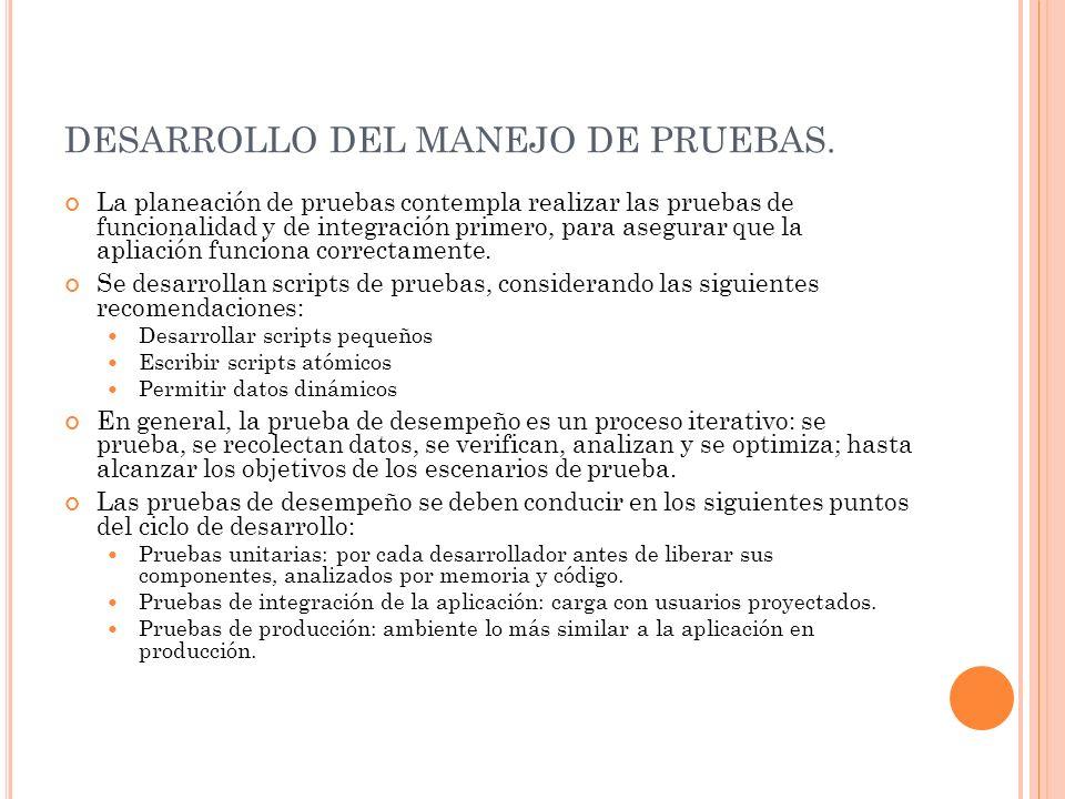 DESARROLLO DEL MANEJO DE PRUEBAS. La planeación de pruebas contempla realizar las pruebas de funcionalidad y de integración primero, para asegurar que