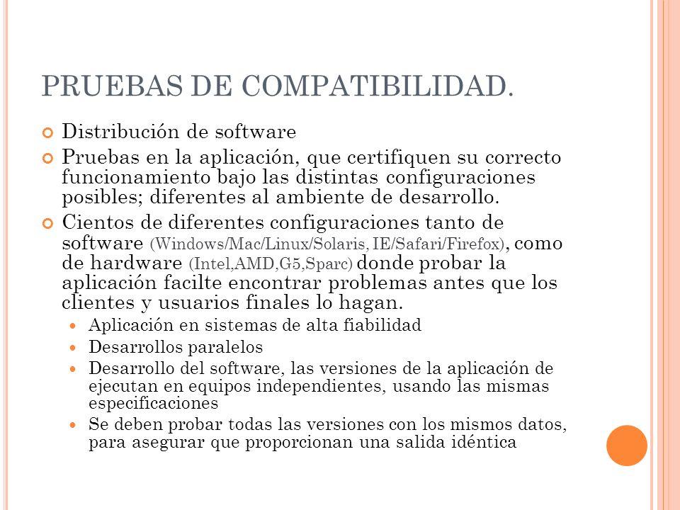 PRUEBAS DE COMPATIBILIDAD.